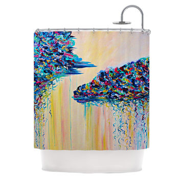 "Ebi Emporium ""Silver Linings"" Beige Blue Shower Curtain"