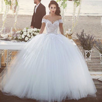 New Arrival Off the Shoulder Lace Up Tulle White Ivory Lace Ball Gown Cap Sleeve Wedding Bridal Dresses 2017