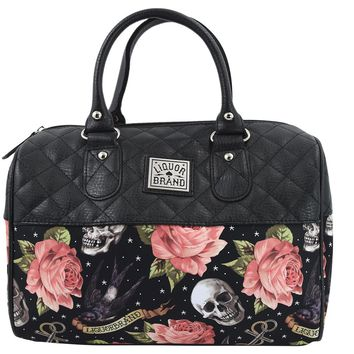Liquorbrand Skulls & Pink Roses Satchel Purse Rockabilly Tattoed Lady Handbag