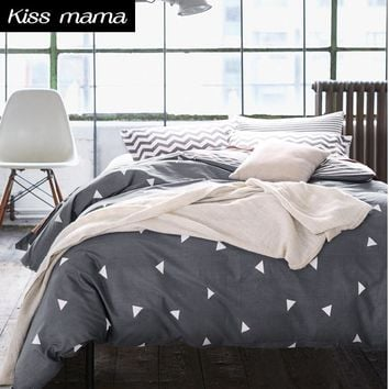 60S Cotton Bedding Set Nordic style Duvet Cover Set,Gray linens Russia USA,Contain Duvet Cover Sheet PillowCase,Customized