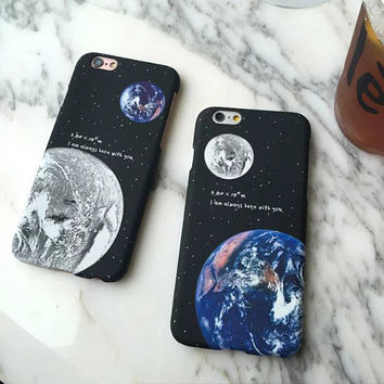 Airship Astronaut Stars Case Moon Night Tech Cosmic Dark Night Space Alien Earth Hard Case Cover For Apple iPhone 5 5S 6 6s 6 plus 7 7 Plus