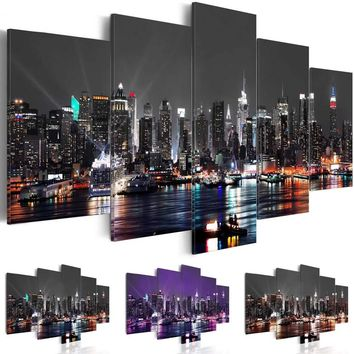 ( No Frame ) New York Canvas Print Modern City Skyline Art Painting Home Decoration, Choose Color & Size