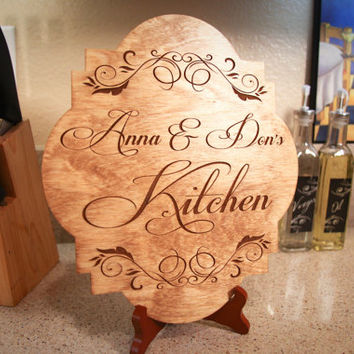 Personalized Wood Engraved Couples Name Kitchen Sign