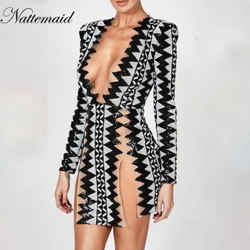 NATTEMAID 2018 New Fashion Dress Women Vintage Fashion Sexy Bodycon Dress Deep V Neck Long Sleeve Sequin Club Dresses Vestidos