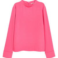 Blouse with a stand-up collar - Pink - Ladies | H&M GB