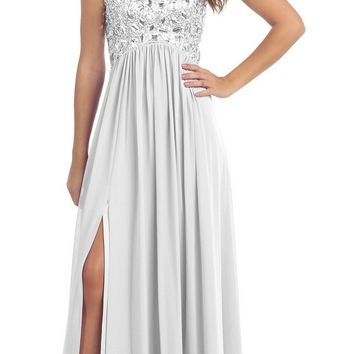 Layered Strapless Laced Bodice Long Ivory Prom Dress