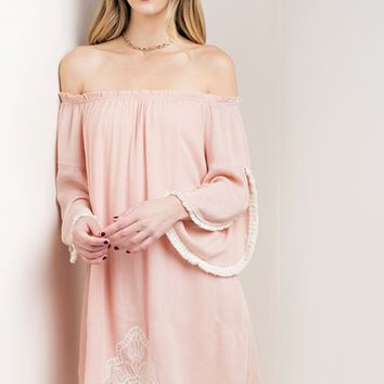 Powder Pink Off Shoulder Lace Hem Dress