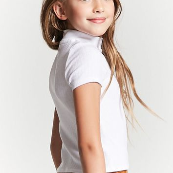 Girls Ribbed Mock Neck Top (Kids)