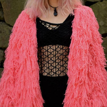 Pink Shag Jacket. Shaggy Cardigan. Pink Furry Cardigan. Fringe Coat. Handknit Boho Cardigan. Shaggy Fur Coat. Fluffy Jacket