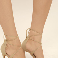 Dani Nude Suede Lace-Up Heels