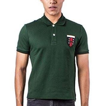 ESBONBX Authentic Gucci Men's Logo Embroidered Green Polo Shirt (Small)