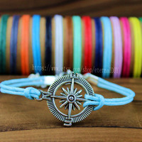 Discount 50% - Handmade silver compass bracelet, many colors to choose wax rope bracelets, navy bracelet