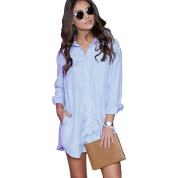 Fashion Long Sleeve Turn Down Collar Women Shirts Black White Sexy Loose Long Shirt Female Blue Striped Blouse With Pockets