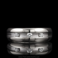 Mens 3 Round Channel Set Diamond Wedding Band Brushed and Polished in 14K White Gold