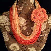 color: Creamsicle Ombre // Teen Women Ombre Scarf, Vanilla Peach Coral Orange, Oversized Necklace Scarf, Infinity Scarf, Circle Rope Scarf