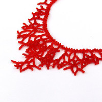 Red Necklace.  Bridesmaid Necklace. Wedding Necklace. Beadwork.