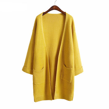 Casual Long Knitted Cardigan in Solid Colors