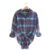 Vintage green and purple Plaid Flannel / Grunge Shirt / cotton button up shirt / size XL tall