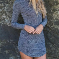 Grey High Neck Knitted Sweater Mini Dress
