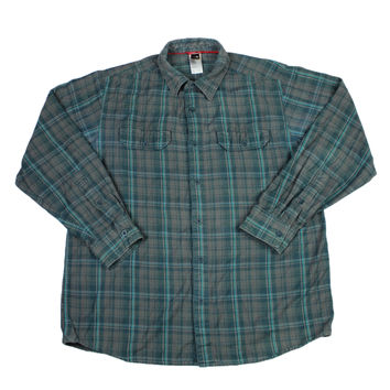 The North Face Plaid Button Up Shirt in Gray/Teal Mens Size Large
