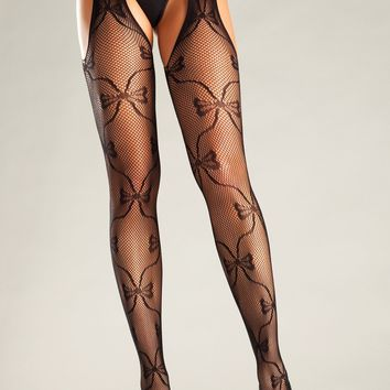 Be Wicked Bow Laces Up Suspender Pantyhose