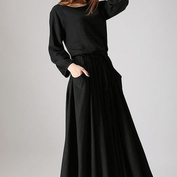 Black dress woman maxi linen dress long sleeve dress custom made casual dress (835)