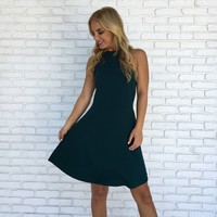 Mission Possible Skater Dress In Emerald Green