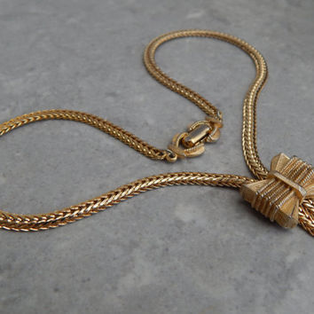signed vendome bow slider tassle necklace - retro 1940s jewellery - designer jewelry