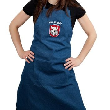 Danish Gift Idea Vaer Sa God! Denim Apron