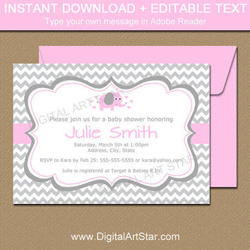 Pink Elephant Baby Shower Invitation Template - Pink and Gray Elephant Invitation - Gray Chevron Invitation Instant Download Editable PDF