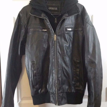 Guess Mens Jacket Medium M Brown Faux Leather Hooded Motorcycle Coat Bomber