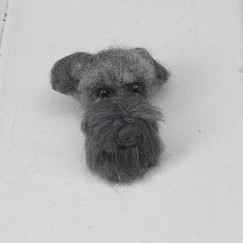 Pet Lover Gift / Custom Dog Pin / Needle Felted Portrait of Your Pet / example Giant Schnauzer