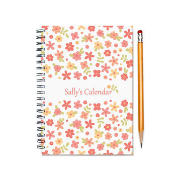 Personal Planner, Bridemaid Gift Idea, weekly planner, scheduler, 2015-16 custom calendar, pink flowers, sister wife gift, SKU: pl pflower