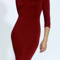 3/4 sleeves simple tight round neck bodycon dress
