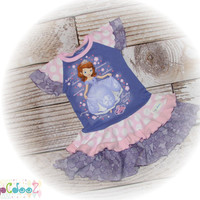 Altered, Upcycled Original New Disney Sophia the First tee dress, size 3T