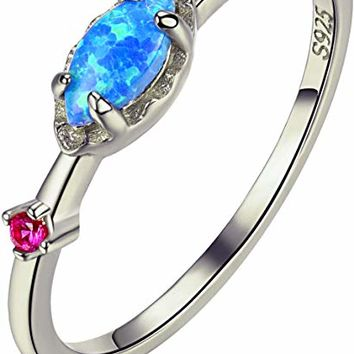 Opal Ring Rose Gold Promise Engagement Cubic Zirconia Wedding Band Sterling Silver Rings for Women