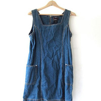 Vintage Jean Dress. Denim Jumper Dress. Mini Jean Dress. ZIpper back.
