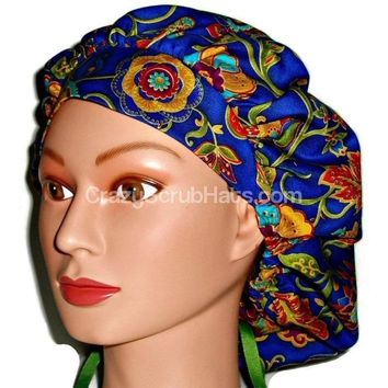 Women's Bouffant, Pixie, or Ponytail Surgical Scrub Hat Cap in Paisley Floral