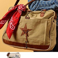 Mona B Star Upcycled Canvas Bag M-1860 with Coin Purse