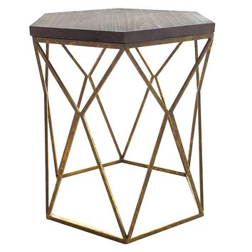 Chester End Table Gold Metal Hexagon - Threshold™ : Target