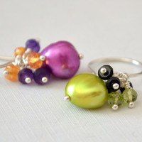 Fun Halloween Earrings, Mismatched Unmatched, Gemstone and Freshwater Pearl, Lime Green and Purple, Sterling Silver Jewelry, Free Shipping