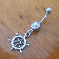 Belly button ring - Body Jewelry - Silver Ships Wheel and clear AB gem Belly Ring