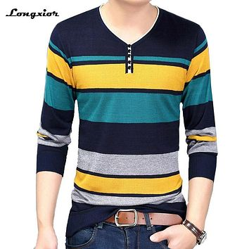 New fashion 2017mens sweater brand clothing thin sweater striped male cotton comfortable top quality elastic soft sweater MVT29