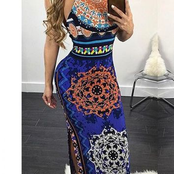 NAVY MULTI PRINT ROUND NECKLINE SLEEVELESS OPEN BACK WITH STRAP DESIGN CUTOUT SIDE LOOK SEXY MAXI DRESS