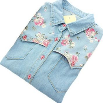 DCCKHY9 Women Denim Shirt  Chemise Jean's Femme Floral Jeans Blouse Long Sleeve Plus Size Blusa Casual Tops Camisa Vetements