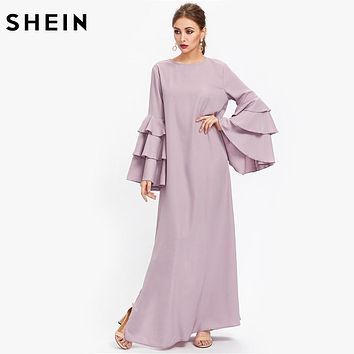SHEIN Exaggerate Layered Flare Sleeve Slit Kaftan Dress Autumn Ladies Maxi Dresses Purple Long Sleeve Loose Dress