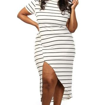 Plus Size White Black Stripe High Slit Maxi Dress