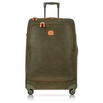Bric's Designer Travel Bags Life Olive Green Micro Suede Large Trolley