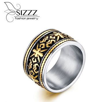 Vintage Men Rings Quality Stainless Steel Jewelry Wedding Band for Men Retro Gold Color Titanium Punk Rings
