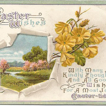 Antique Easter Greetings Yellow Flowers and Country Meadow with Creek Scene 1920s